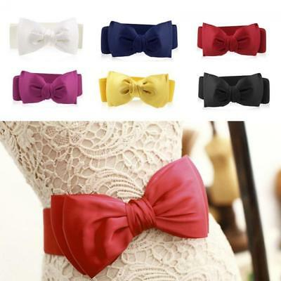 Elegant Women Bowknot Buckle Waistband Waist Belt Elastic Bow Wide Stretches New
