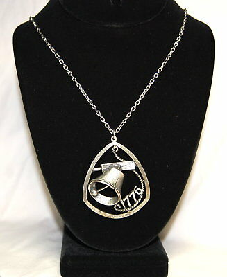 Vintage Silver Tone 1776 Liberty Bell Crack Pendant Chain Necklace Ring Clasp