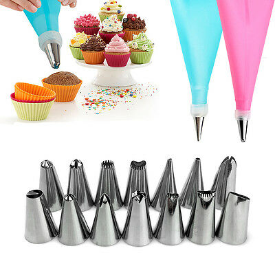 Silicone DIY Icing Piping Cream Pastry Bags+14 Nozzle Sets Cake Decorating Tools