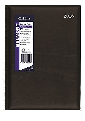 2018 Collins Belmont Desk Diary Diaries A5 Day to Page 187.V99-18 - Black + FREE