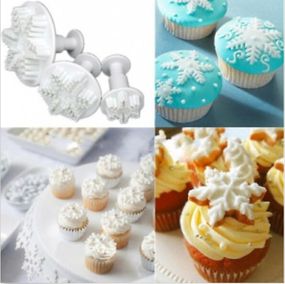 3pcs Xmas Snowflake Cutter Plunger Mold Christmas Cupcake Cake Decorating Tools。
