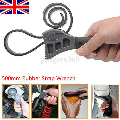 500mm Rubber Strap Wrench Universal Black Wrench Adjustable Spanner Opener UK