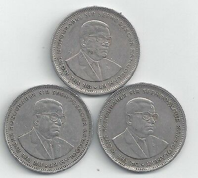 3 DIFFERENT 1 RUPEE COINS from MAURITIUS (1990, 1994 & 1997)