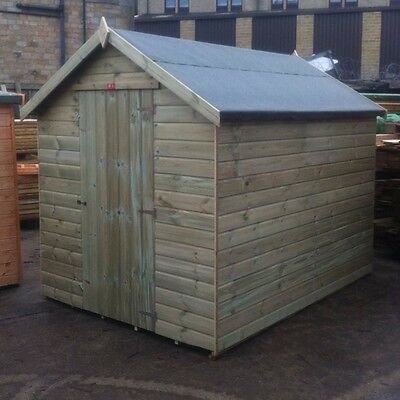 8x6 Pressure Treated Wooden Garden Shed Factory Seconds Fully T&G Tanalised Hut
