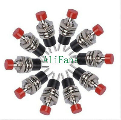 5PCS PBS-110 Red Lockless ON/OFF Push button Switch Press the reset switch
