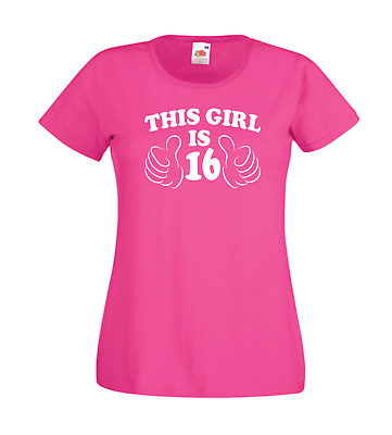 331e3c29 THIS GIRL IS SIXTEEN funny 16th birthday xmas gift idea womens new top T  SHIRT