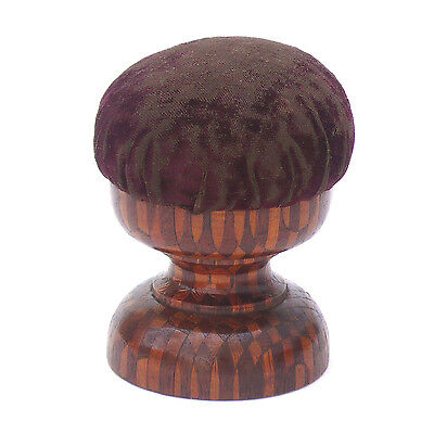 Antique 19th c. Turned Solid Marquetry Inlaid Wood Pincushion