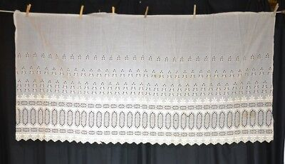 eyelet lace fabric wide white antique Victorian 32 x 68 in. cotton original 1800