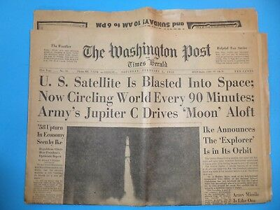 Front Section of the Washington (DC) Post, Feb, 1 1958 Featuring Satellite