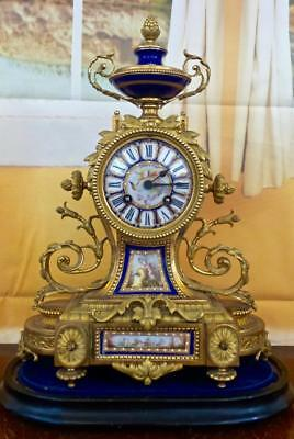 Antique French Japy Freres 19thc gilt ormolu bronze & Sevres mantle clock & Base
