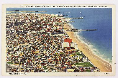 "Post Card ""Airplane View, Atlantic City, NJ"" 1936 WB Color Posted Fine"