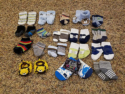 Baby Boy Sock Lot of 19 Pairs Size 0-6-12 Months Shoes, Stripes, Booties, Whales