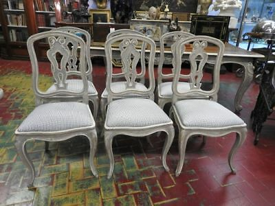 Group Of 6 Splendid Ancient Chairs French Lacquer Grey Powder Provence