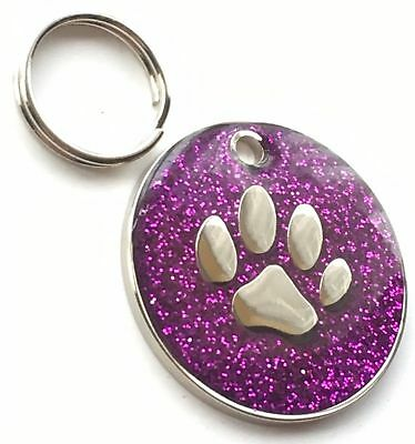 Personalised Engraved Purple Glitter Paw Print - Dog/Cat Pet ID Tag 26mm