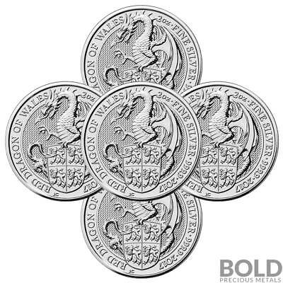 2017 Silver Great Britain Queen's Beasts (The Red Dragon) - 2 oz (5 Coins)