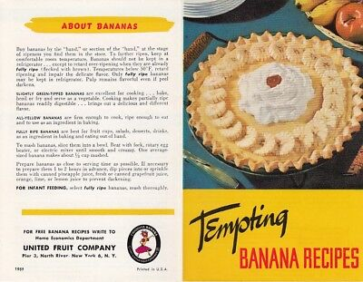 Tempting Banana Recipes 1959 Pamphlet United Fruit Co Chiquita Brand Bananas