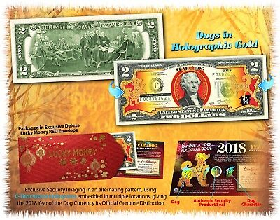 2018 Chinese New Year U.S. Genuine $2 Bill YEAR OF THE DOG Gold Hologram - Red
