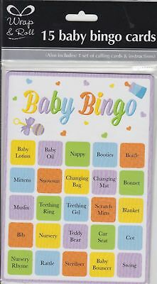 15 Pack Baby Shower Party Bingo Game Unisex For Boy Girl Fun Up To 15 Players
