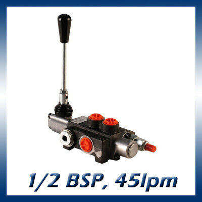 1 Bank Hydraulic Double Acting Lever Spool Valve, 1/2 BSP Ported, 45lpm