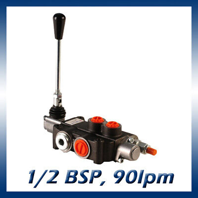 1 Bank Hydraulic Double Acting Lever Spool Valve, 3/4 / 1/2 BSP Ported, 90lpm
