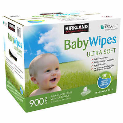 KIRKLAND Baby Wipes Tencel 900 Ct | Ultra Soft, Free Of Dyes & Alcohol SEALED