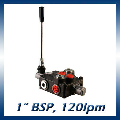 """1 Bank Hydraulic Double Acting Lever Spool Valve, 1"""" BSP Ported, 120lpm"""