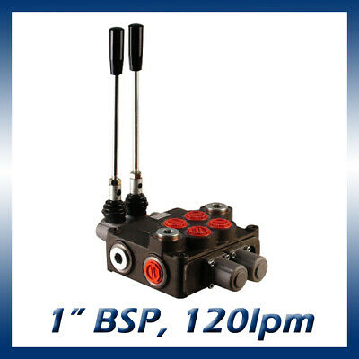 "2 Bank Hydraulic Double Acting Lever Spool Valve, 1"" BSP Ported, 120lpm"