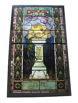 Burning Oil Lamp Stained Glass Window