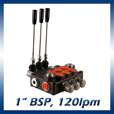"""3 Bank Hydraulic Double Acting Lever Spool Valve, 1"""" BSP Ported, 120lpm"""