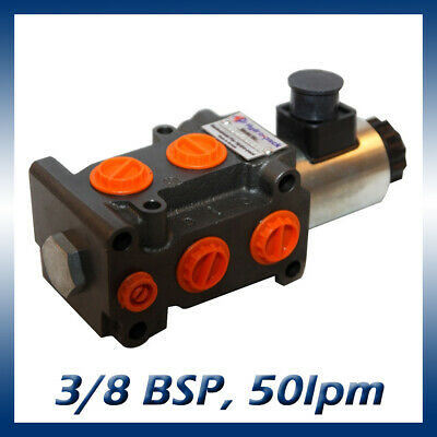 6 Port Hydraulic Diverter / Selector Valve 3/8 Ports, 50l/min, 315bar 12v or 24v