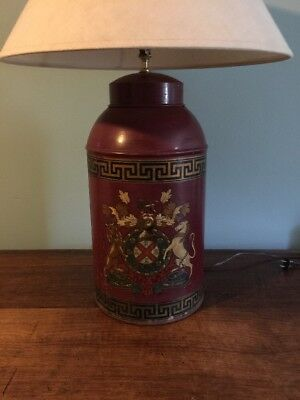 Antique Tole Painted Export Tea Canister Tin Lamp