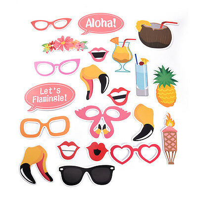 21pcs Lovers Masks Photo Booth Props Mustache On A Stick Hawaii Beach Theme DIY