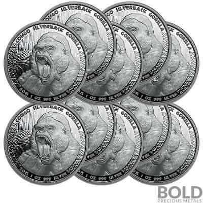2015 Silver 1 oz Republic of Congo Gorilla (10 Coins)