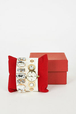 Cream Faux Leather Strap Watch