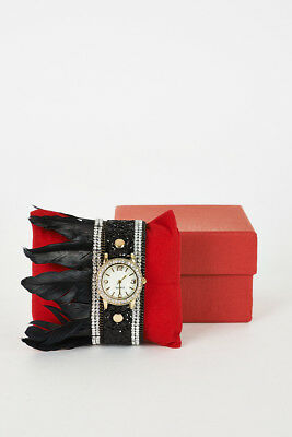 Black Sequins, Rhinestone And Feathers Detail Watch