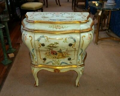 Antique Italian Style Painted Bombe Chest Venetian Design