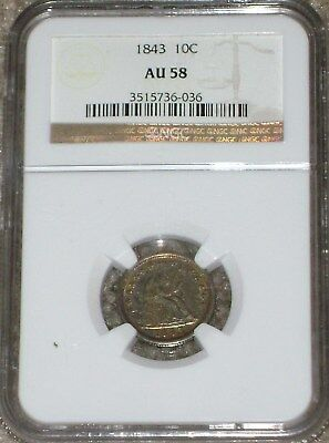 1843 Seated Liberty Dime NGC AU58 (heavy toned)