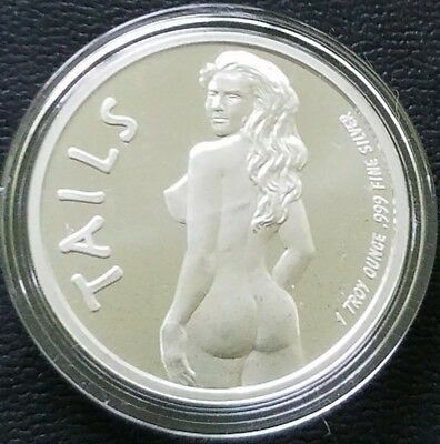 Adult Nude Girl Silver Round..1 Oz. .999 Fine... Heads And Tails