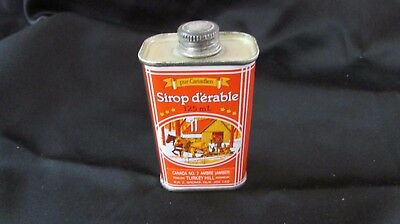 """Vintage 125 mL Canadian Pure Maple Syrup Tin, 3 1/2"""" Orange Bottle Can Canister"""