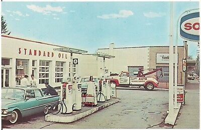 Anthony's Sohio Standard Oil Gas Station in Parma OH Postcard