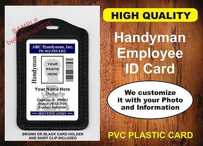 Handyman Employee ID Badge / Card  Custom w Your Photo & Info USA Company ID USA