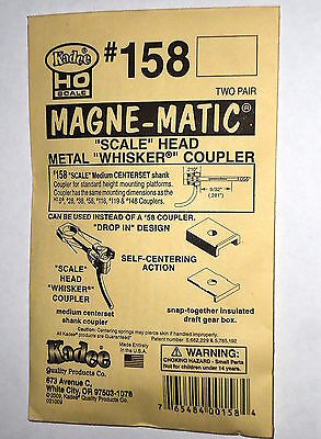 Kadee HO #158 scale couplers  whisker metal /spring scale size