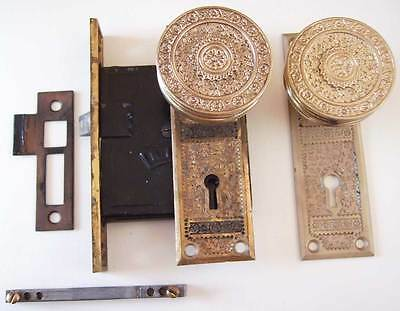 Antique Ornate Victorian Door Knob Lock Set - B.L.W.  - Bronze