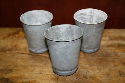6 GALVANIZED Candle Holder Primitive TIN CUP Votives Candles 4 inch tall