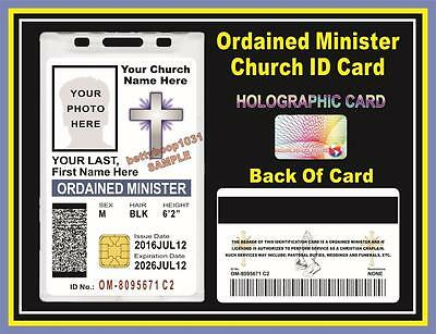 Ordained Minister / Church ID Badge - Card W/ your Photo & Info  Smart Chip Card