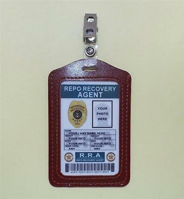 Repo Recovery Agent ID Badge >CUSTOMIZE WITH YOUR PHOTO & INFO< Repossession ID