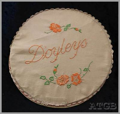 Vintage ecru hand embroidered rigid lace trim round doily case protector storage