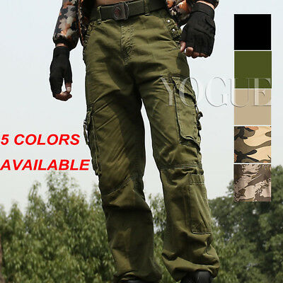 Men's Military Army Camo Cargo Pants Camouflage Overall Tactical Baggy Slacks