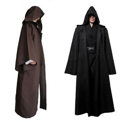 Adult Men Women Hooded Robe Long Black Cloak Cape Halloween Fancy Costume Dress