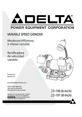 Delta Gr150 Grinder Owners Instruction Manual 1699 Picclick. Delta 23196 Grinder Owners Instruction Manual. Wiring. Gr150 Delta Bench Grinder Wiring Diagram At Scoala.co
